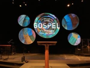 circle screens used in church stage backdrop