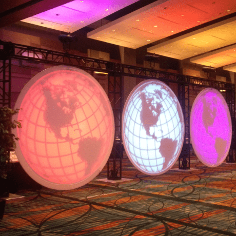 circle projection screens made of stretch fabric