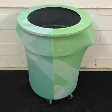 custom printed garbage can covers - stretch material